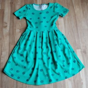 Small LuLaRoe Green Amelia with Silver Zipper